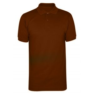 Brown Polyester Polo T-Shirt 1 Color Printing