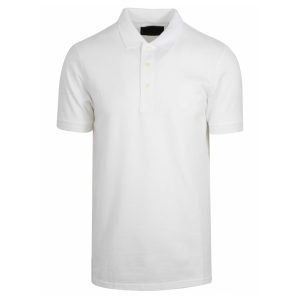 White Polyester Polo T-Shirt 1 Color Print